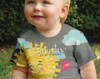 You Are My Sunshine Shirt, Girls Personalized Sun T-Shirt, You are my Sunshine Birthday Children's Clothing
