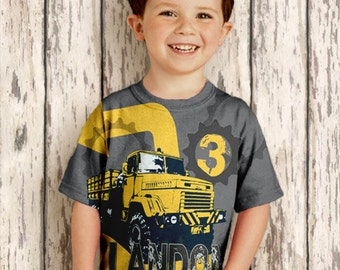 Personalized Dump Truck Shirt, Boys Construction Birthday  Number T-Shirt