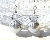 SILVER GREY PEARLS- Grey Crystal Bead and Silver Pearl Earrings- Beautiful Bridal Jewelry- Silver Plated Ear Wires