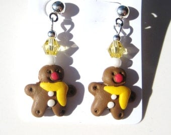 GINGERBREAD MEN- Beaded Holiday Earrings- Yellow or Red Gingerbread Men