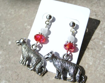 WOLVES AND DIAMONDS- Glass Beaded Earrings with Wolf Charm and Red Swarovski Crystals
