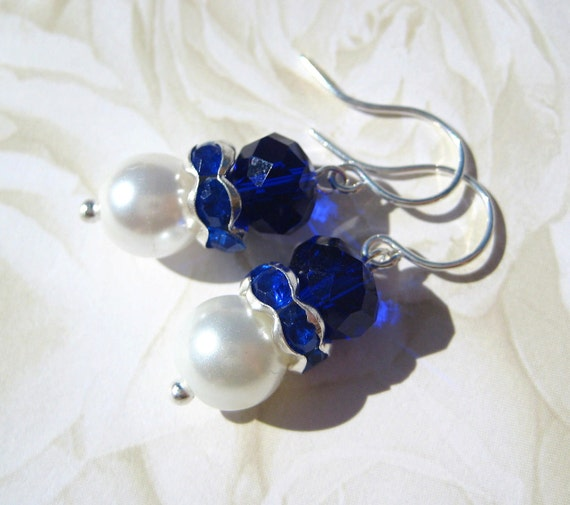 Sapphire Pearls- Glass Beaded and Pearl Earrings- For Lovely Bridal Jewelry or a Beautiful Holiday Gift