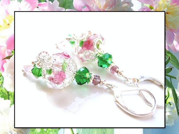 GREEN GARDEN- Glass Beaded Leverback Earrings- Lampwork Floral Beads with Amethyst, Pink, and Green Swarovski Crystals- For Sensitive Ears