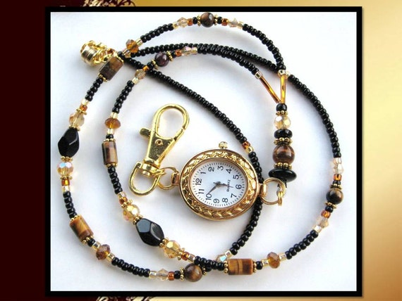 LUXURY- Black and Gold Glass Beaded Id Lanyard with a Watch Face, Tigereye Beads, & Swarovski Crystals (Magnetic Clasp)