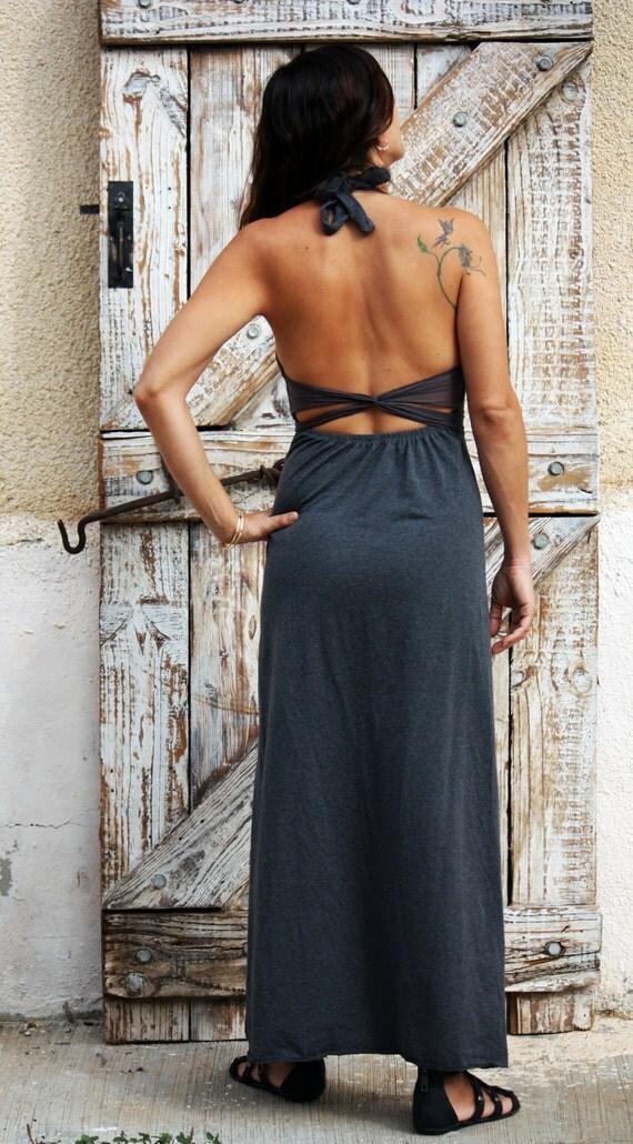 Grey maxi dress, halter dress, fairy dress, goddess dress, party dress