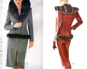 Alexander McQueen for Givenchy faux fur-trimmed skirt suit pattern -- Vogue Paris Original 2228