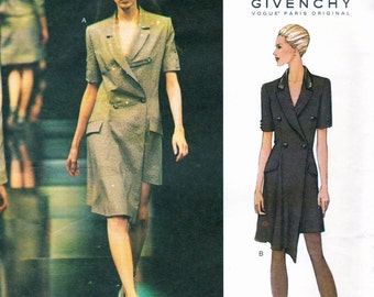 Alexander McQueen for Givenchy asymmetrical double-breasted dress pattern -- Vogue Paris Original 2628