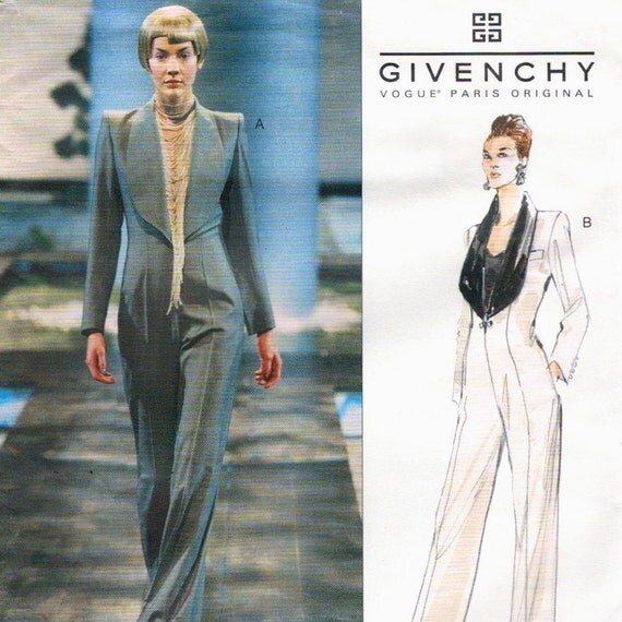 RESERVED for Adila - Alexander McQueen for Givenchy Couture tuxedo jumpsuit pattern -- Vogue Paris Original 2343