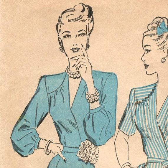 Late 1940s surplice bodice dress pattern -- Advance 4708