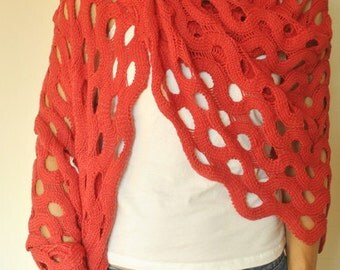 Tomato Red Perforated Shawl