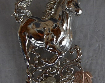 Whitaker's Black Hills Gold on Silver Jewelry Large Horse Slide Pendant