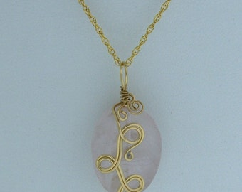 Handcrafted OOAK Rose Quartz Oval Pendant // 14K Goldfilled Wire Wrapped Gemstone Jewelry