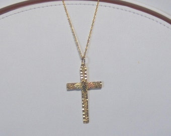 Whitaker's Black Hills Gold Diamond Cut Cross Pendant