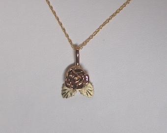 Whitaker's Black Hills Gold Pink Rose Pendant