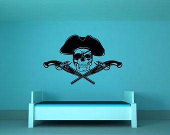 Pirate Decor, Skull and Crossbones Decorations, Pistol Decal, Skull Decor, Pistols Decal, Kid's Wall Art, Hat, Boy's Bedroom, Nautical Decor