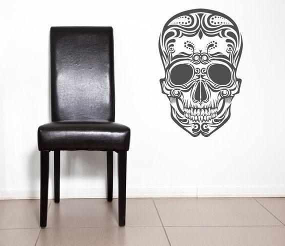Sugar Skull Decor, Sugar Skull Decal, Day of the Dead, Sugar Skull Wall Art, Mexican Home Decor, Mardis Gras Decor, Wall Decal, Wall Art