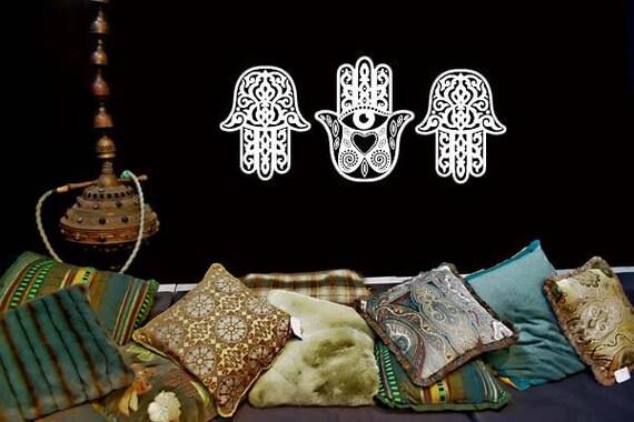 Mehandi Hands, Yoga Studio Decor, India Art, Indian Wall Art, Indian Decor, All Seeing Eye, Henna Tattoos, New Age, Office, Indian Decal