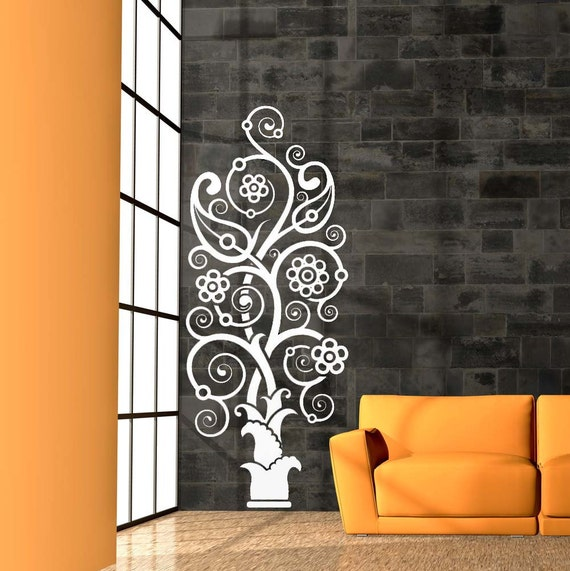 Paisley, Tree Decal, Tribal Decor, Hawaiian Decor, Flower, Swirl Decal, Scroll, Flourish, Wall Sticker, Vinyl, Home, Office, Dorm Decor