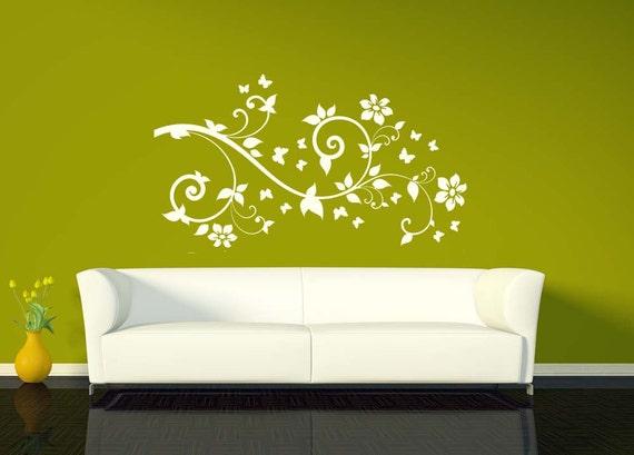 Branches, Branch Decal, Branch Decor, Flowers, Swirl Decal, Butterflies, Butterfly, Home Decor, Wall Decal, Nursery Wall Art, Butterfly Art