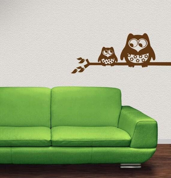 Owl Decor, Owl Decal, Cute Owls, Decorative Owls, Owl Wall Art, Branch Decal, Owl Wall Decor, Kids Room Art, Branches, Leaf Art, Home Decor