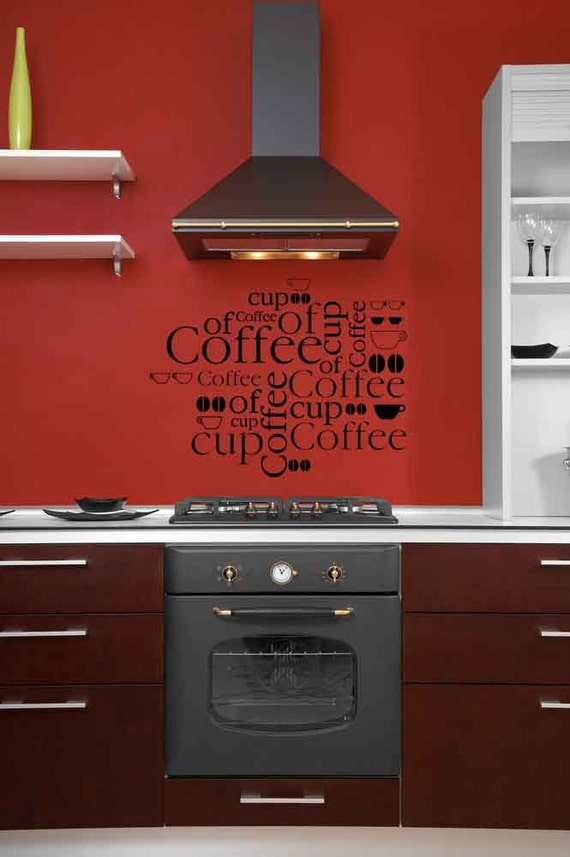 Cup of Coffee, Word Cloud, Joe, Vinyl Wall Lettering, Diner Wall Art, Coffee Beans, Sticker, Home, Kitchen Wall Decal, Restaurant Decor