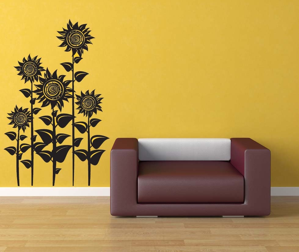Sunflower decor sunflowers floral wall decal flower for Home interior wall design 2
