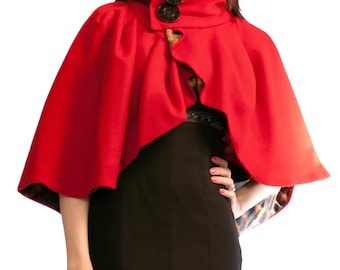 Custom Audrey Pleated Cape with Side Closure - high collar, large buttons, fully lined, warm, seasonal, fall, winter, spring, wool, shawl