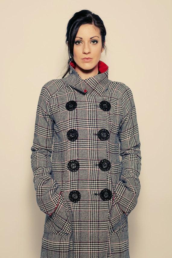 Marissa Pea Coat - military women's jacket, high collar, large buttons, large wrap cuffs, fall, winter, warm, long, plaid, wool, silk