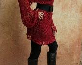 Kakia - Sexy Knit Sweater Dress in Ruby Red by Eva Bella