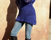 Lasya- Violet Purple Cotton Silk Lightweight Lace Sleeve Hand Knit Sweater by Eva Bella