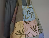 SALE - 50% OFF Large Washable Linen Tote Bag With A Zipper Pocket In Natural And Pastel Colors Great For Yoga Gear  194