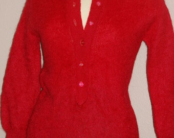 Vintage Bobbie Brooks Mohair / Wool blend Sweater ..  Christmas Red ..  collar cozy warm 50s