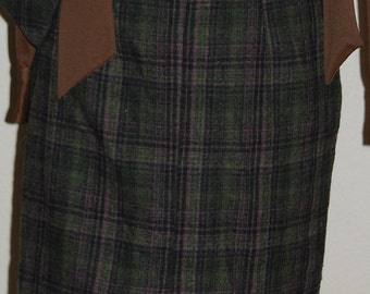 Plaid Wool Pencil Skirt, by Sportstrends, High Waisted Green & Brown    Winter Warm