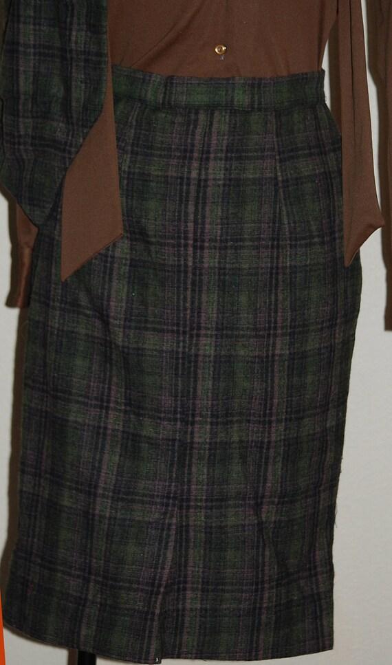 plaid wool pencil skirt by sportstrends high waisted green
