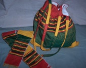 Handmade Ethiopian Purse and Hair Tie Accessory Set