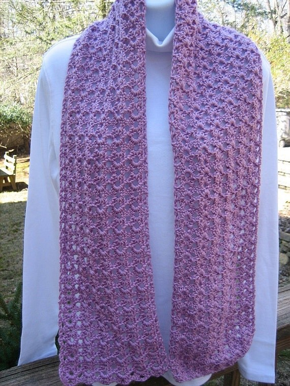 """Crocheted Scarf - Blackberry - Soft & Lacy 7"""" x 57"""""""