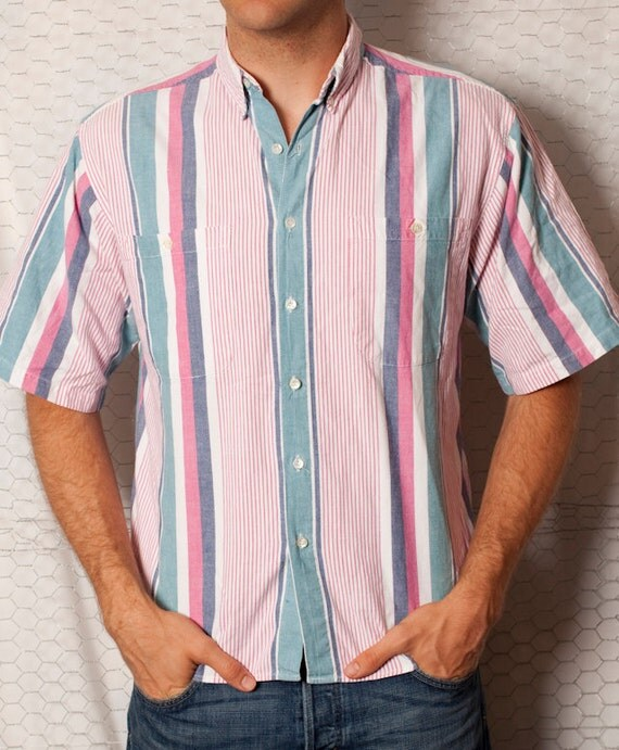 Handsome Pink Blue and White Short Sleeve Button Shirt - Santana - L