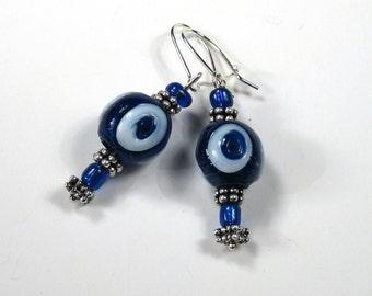Handmade Blue Evil Eye Bead Earrings