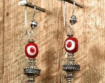 Sale Evil Eye OxBlood Moon Earrings Gypsy Boho Earrings Handmade Red Evil Eye Glass Bead Earrings Festival Earrings Evil Eye Tribal Earrings