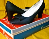 NOS 60s 70s Black Silk Bowtie Heels Pumps Bow 1960s 1970s Mad Men Audrey Hepburn Betty Draper Wedding Shoes Fall Winter Fashion Gift for He