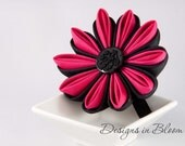 50% OFF SALE - Hot Pink and Black Hair Clip, Brooch, Kanzashi Flower
