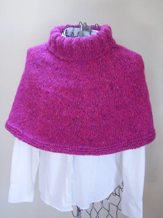 Knitting Pattern Turtleneck Capelet : Pink Turtleneck Capelet Poncho: Junior Teen Misses