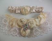 Ivory Lace Garter, Rosette Garter Set -Beaded Garter, Crystal Wedding Garter Set, Lace Bridal Garter, Garter Wedding, Garter Lace, CLEARANCE