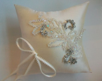Swarovski Crystal Ring Bearer Pillow- Ivory Ring Bearer Pillow, Silk Dupioni Off White Beaded Ring Pillow, Silver Rhinestone Wedding Pillow