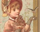 Little Girl with Birds Vintage French Victorian Chromo Trade Card from Vintage Paper Attic