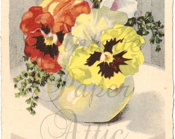 Antique French Postcard Chromolithograph Pansies Pansy Bouquet in Flower Vase from Vintage Paper Attic