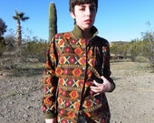 Southwest Green Clay Brown Navajo Pattern Button Up