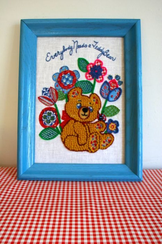 "50% OFF // vintage needlepoint art - ""everybody needs a TEDDYBEAR"" wall hanging"