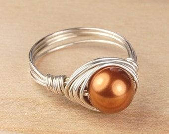 Sterling Silver Filled Ring - Wire Wrapped with Copper Swarovski Pearl - Any Size- Size 4, 5, 6, 7, 8, 9, 10, 11, 12, 13, 14
