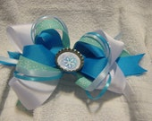Shades of Blue and White Winter and Christmas Snowflake Boutique Loopy and Stacked Bow with Bottlecap Snowflake Center